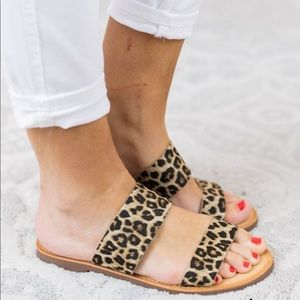 f4230f52eb2 Soda Shoes - Womens leopard two strap sandals